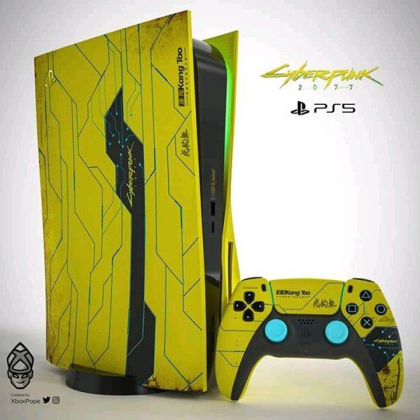 Zo zou een special edition Cyberpunk 2077 PS5 console eruit kunnen zien