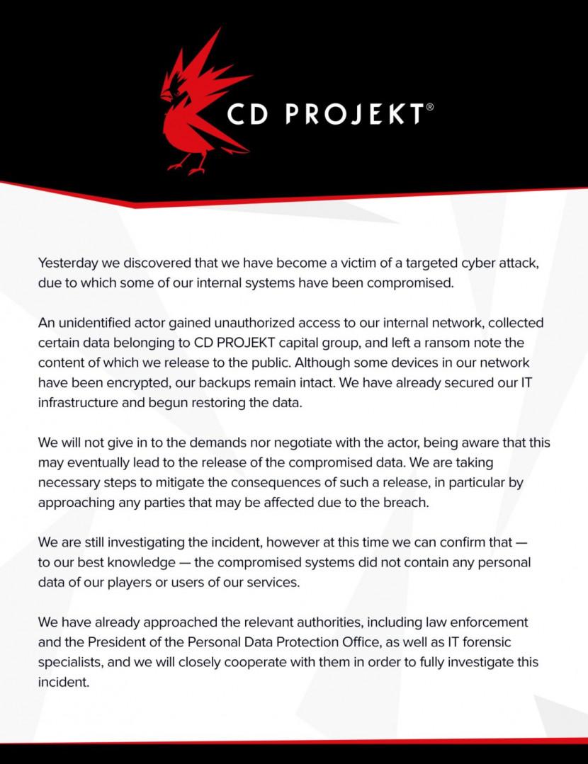 CD Projekt RED gehackt, losgeld gevraagd