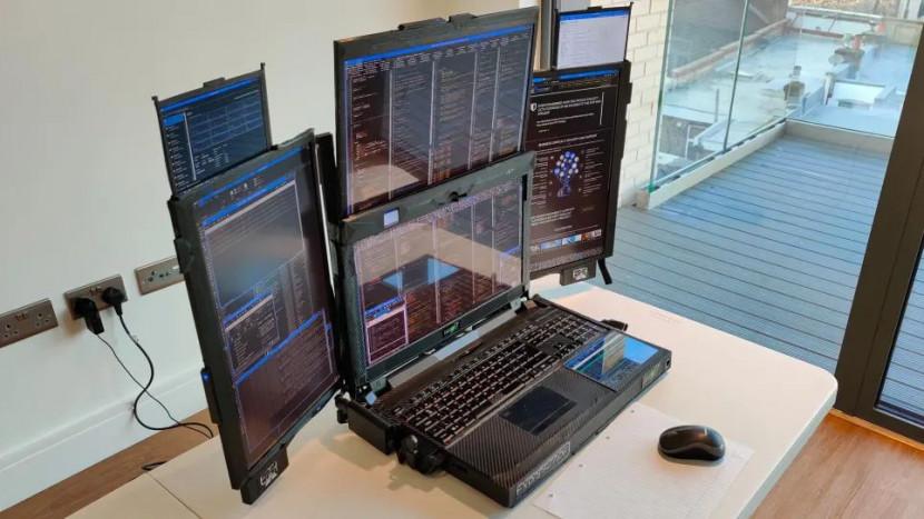 Deze laptop heeft 7 schermen en een batterij die één uur meegaat