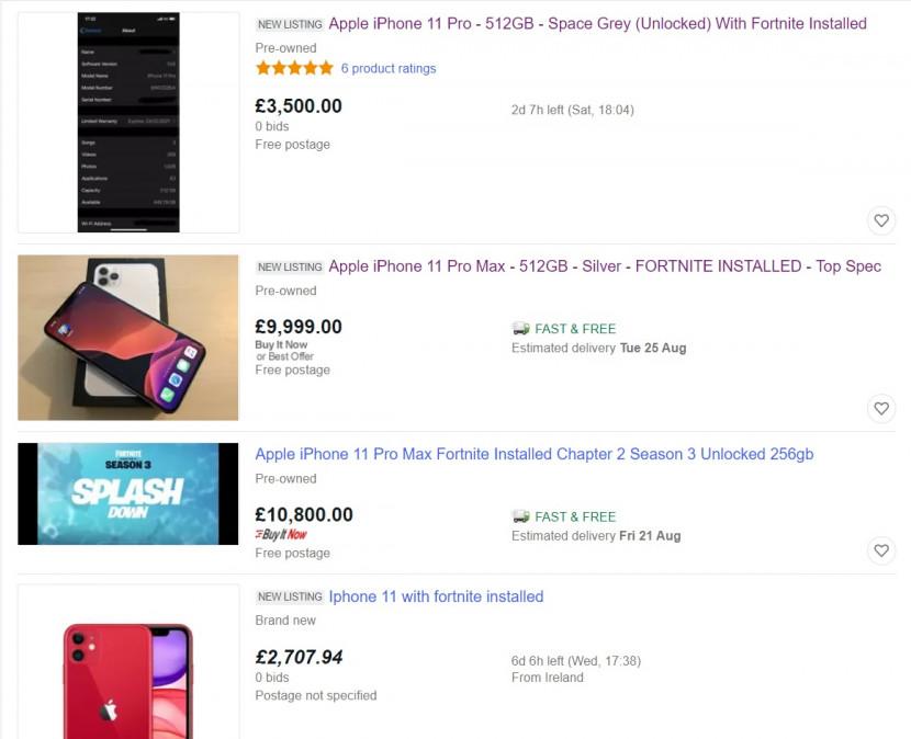 iPhones met Fortnite erop worden voor duizenden euro's extra aangeboden op eBay