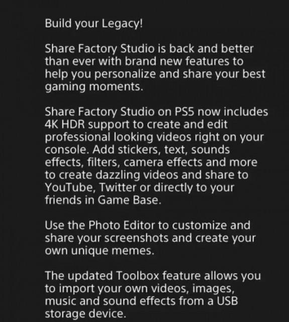 Share Factory Studio voor PS5 ondersteunt 4K en HDR